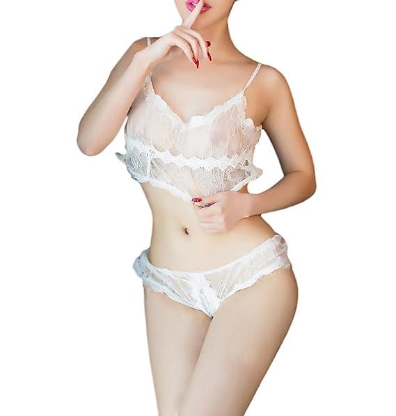 BOLAWOO Conjunto Ropa Interior Mujer 2 Piezas Vintage Transparentes Encaje V Cuello Lenceria Erotica Lingerie Pijama