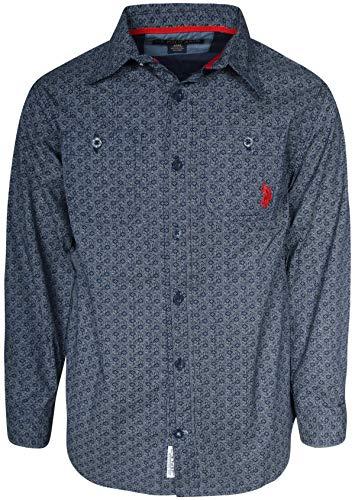 (U.S. Polo Assn. Boys Long Sleeve Woven Button Down Shirt, Classic Navy, Size)