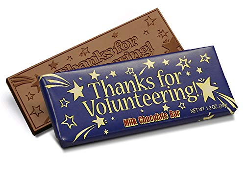 Thanks for Volunteering Engraved Chocolate Bar (50 per pack) Volunteer Thank You & Volunteers Appreciation Gift -