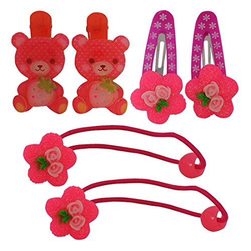 [Maayra Kids Tic Tac Clips Rubber Bands combo Teddy Flower in Pink Red Purple for Dailywear Pack of 6] (Benefit Ballet Costumes)