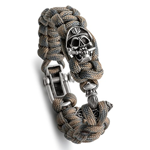 Kayder Antique Silver Pirate Officer Skull and Celtic Anchor Charm Paracord Bracelet with Camo(Tan/Grey) Parachute Cord Weave & Adjustable D Shackle Closure, Magical Jewelry Gift for Boys and Men