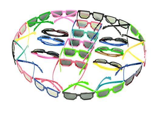 8 Bit Party Sunglasses 24-Pack Pixel Sunglasses-Party Sunglasses-Party - Bit Pixel Glasses 8