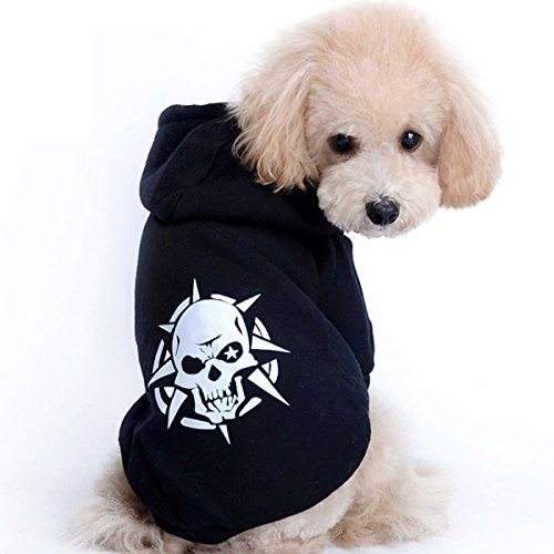 Petina Dog Sweaters Hoodie Hoody Leg Warmers Skull Head Bones Costume Outfits Coat Black