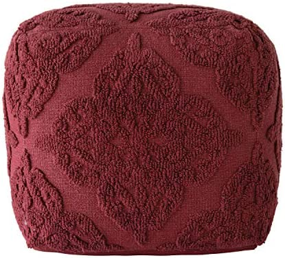 Creative Co-op Wine Chenille Pouf