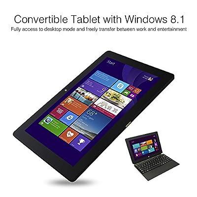"Dragon Touch® i10X 10.1"" Windows Tablet PC with Detachable Keyboard, Windows 8.1, Intel Baytrail-T Z3735F Quad Core CPU 1.83GHz, 2GB RAM 64GB Memory, HD IPS Display 1280x800, 5.0MP Rear Camera w/ AutoFocus, Bluetooth 4.0, HDMI, 2 in 1 Convertible Laptop"