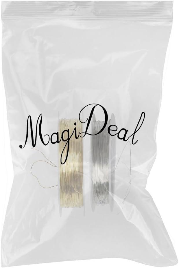 MagiDeal 2 Rollos de Alambre 22m para Joyer/ía de Pelo 0.3mm Accesorios de Artesania Bricolaje