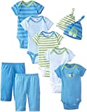 Baby : Gerber Baby-Boys Newborn Seriously Cute 9 Piece Bodysuits Pants and Caps Set, Blue, 0-3 Months