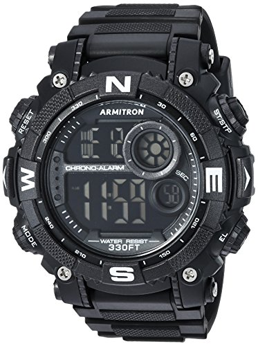 Armitron Sport Men's 40/8284BLK Digital Chronograph Black Resin Strap Watch (Proof Men Shock Watches For)