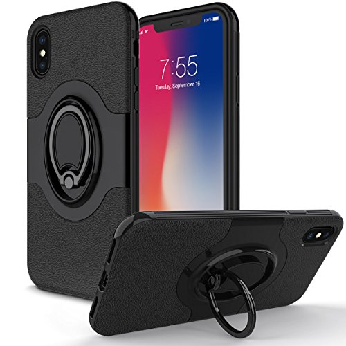"Price comparison product image iPhone X Case,Amuoc iPhone X Case with Ring Holder Kickstand Ring Stand Grip With Metal Patch Shock Absorbing Bumper soft TPU inner Hard PC Back Cover for Apple iPhone X / iPhone 10 5.8""-Black"