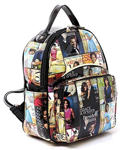 r Collage Backpack Michelle Obama Handbag Fashion Backpack (07-Multi/Black) ()