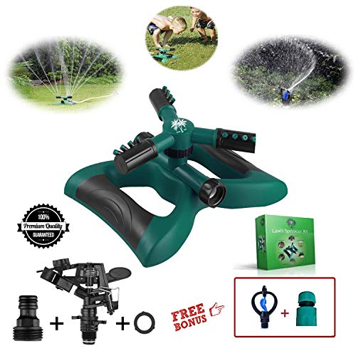 Tree-Inn Lawn Sprinkler Premium Kit – 3 Water Sprinkler Head for Lawn, Garden, Yard, Outdoor, Kids Play - Automatic 360 Degree Rotating Adjustable Irrigation System - Covers 3600 SQ FT - Leak Free by Tree-Inn