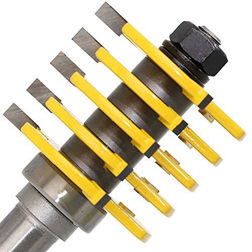 ELEOPTION Tongue And Groove Router Bit Set 1/4 Shank 1/2 Shank Wood Milling Cutter Woodworking Tools Adjustable (1/2 inch Shank 5 Blade) by Eleoption (Image #4)