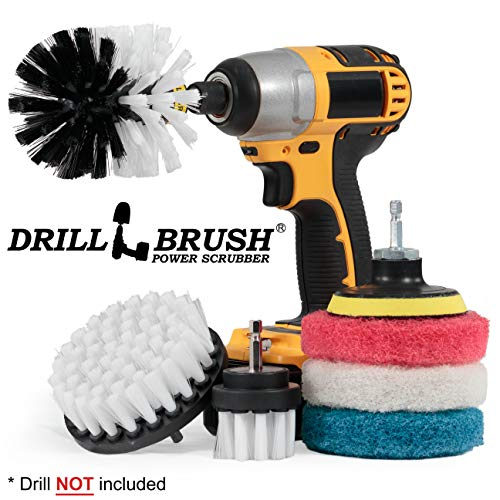 Drillbrush Cleaning Supplies - Detail Brush Set - Upholstery Cleaner - Carpet Cleaner Scrub Brush - Auto Brush Cleaning - Drill Brush Pads - Rotary Drill Brush Cordless Scrubber - Auto Leather Cleaner (Carpet Auto Brush)