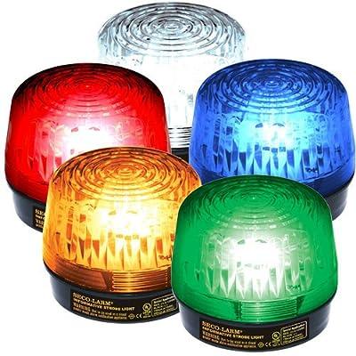 Seco-Larm Enforcer LED Strobe Light with Built-In Programmable Siren, Amber