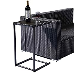 Safstar Coffee Tea Tray Side Sofa Couch Chair End Table with Wicker Rattan Square Glass Furniture