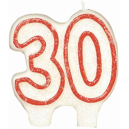 #30 Celebration Candle| White/Red | Birthday Candle | Number Candle | Party Supply ()