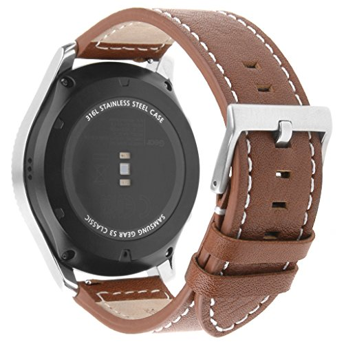 SnowCinda Handmade Genuine Leather Band Replacement Strap for Samsung Gear S3, Brown, White Stitching