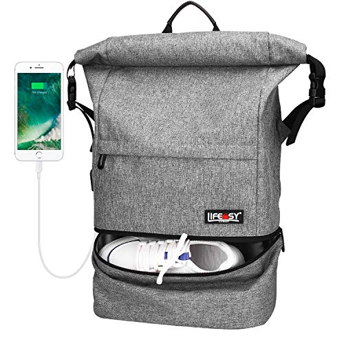 Travel Backpack, Lifeasy Waterproof Anti-Theft Roll Top Business Laptop Bag Lightweight Daypack for Adults (Grey)