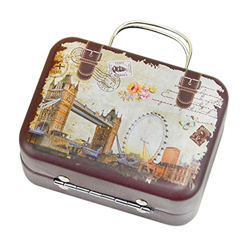 (Vintage Patterned Metal Tinplate Empty Tins,Suitcase Style Container Mini Box for DIY Candles, Dry Storage, Spices, Coffee, Candy, Party Favors, and Gifts)