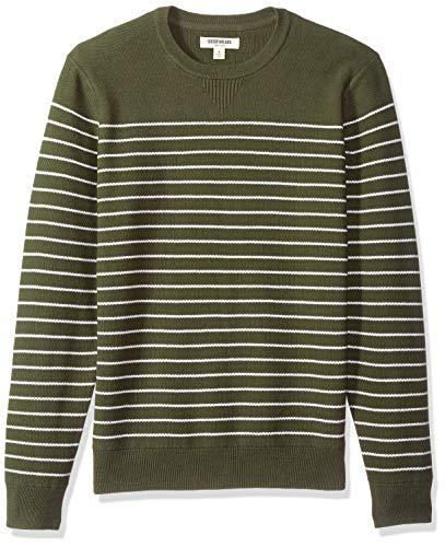 Goodthreads Men's Soft Cotton Striped Crewneck Sweater, Olive/White, ()