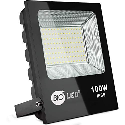 Bioled 100W Projecteur LED Extérieur,Blanc Froid 6400K, Super Brillant 10000lm, IP65 Imperméable Spot LED Exterieur économiseur d'énergie, Éclairage de Sécurité Extérieur, Sans Détecteur