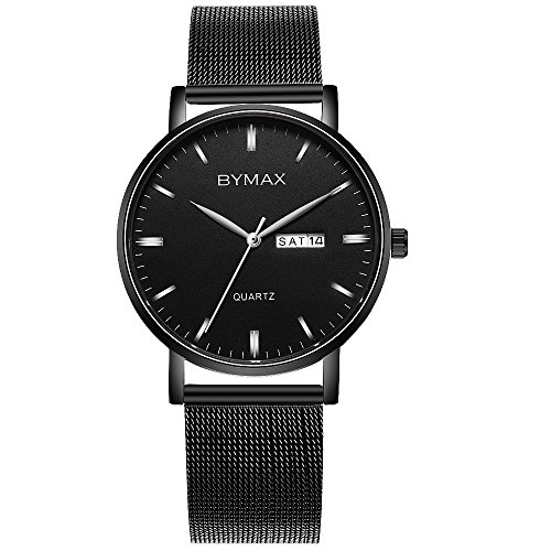 Men's Fashion Casual Watch, Bymax Slim Analog Quartz Wrist Watches With Black Stainless Steel Mesh (Black Dial Super Slim Watch)