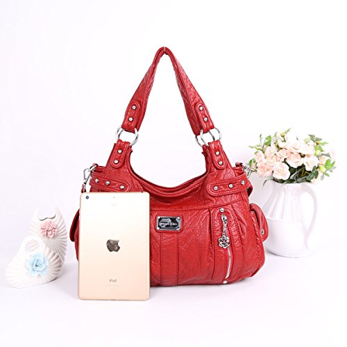 2 2 Red Handbags Zippers capacity Large Angelkiss Purses AK19244 Top Women Washed Leather Shoulder Bags Snx6g4O4d