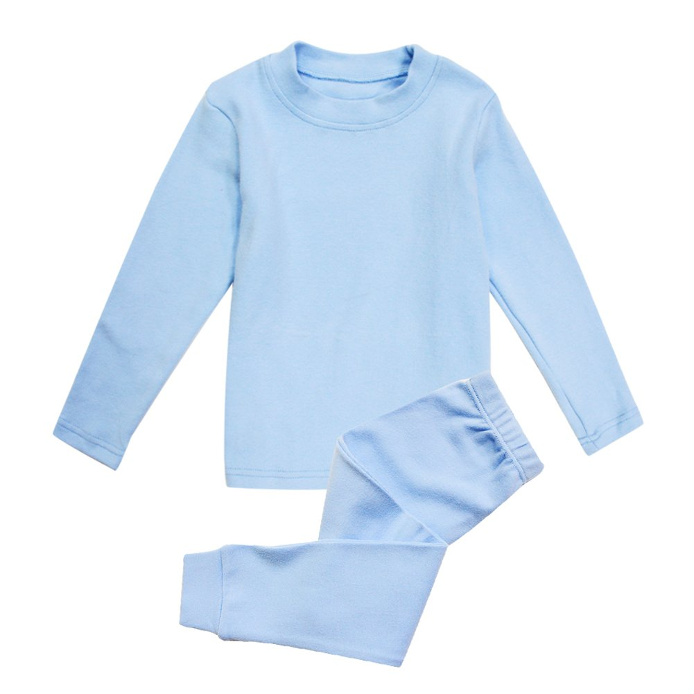 Little Girls Boys Thermal Underwear Long John Set Thermal Breathing Pajama Crewneck Top and Bottom 2PC Set, (Blue, 5T)