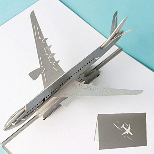 Arich 3D Pop Up Airplane Greeting Cards Christmas Birthday Valentine Invitation (Easy Halloween Pop Up Cards)