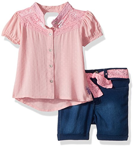 U.S. Polo Assn.. Little Girls' Fashion Top and Short Set, Diamond Texture Blouse Light Pink, 4