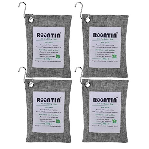 Roontin Air Purifying Bag, 4 Pack x 200G Bamboo Activated Charcoal Air Fresheners Deodorizer Odor Neutralizer Bags for Fridge, Cars, Kitchen, Bathroom, Closets, 4 Hanging Hooks Included