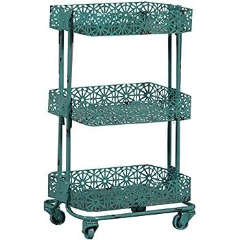 Linon 3-Tier Cart Metal, Turquoise