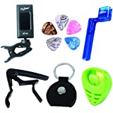 Mr.Power Guitar Capo tuner tool kit(Tuner,Capo,String winder,Keychain Pick Holder) for acoustic electric guitar