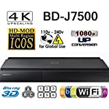 SAMSUNG BD-J7500 (MULTI-SYSTEM TV OR VIDEO PROJECTOR IS REQUIRED) 2K/4K Upscale - 2D/3D - Wi-Fi - Multi System Region Free Blu Ray Disc DVD Player - PAL/NTSC - USB - 100-240V 50/60Hz for World-Wide Use & 6 Feet HDMI Cable