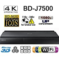 SAMSUNG BD-J7500 - 2K/4K Upscale - 2D/3D - Wi-Fi - Dual HDMI - Multi System Region Free Blu Ray Disc DVD Player - PAL/NTSC - USB - 100-240V 50/60Hz for World-Wide Use & 6 Feet HDMI Cable