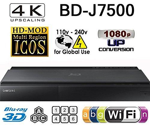 SAMSUNG BD-J7500 - 2K/4K Upscale - 2D/3D - Wi-Fi - Dual HDMI - Multi System Region Free Blu Ray Disc DVD Player - PAL/NTSC - USB - 100-240V 50/60Hz for ()