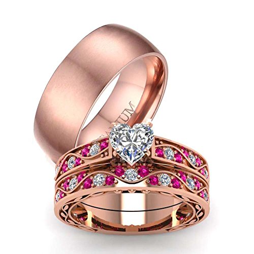 LOVERSRING Couple Ring Bridal Set His Hers 10k Women Rose Gold Filled Heart Cut CZ Men Titanium Wedding Ring Band Set