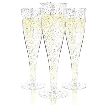 Plastic Champagne Flutes Disposable - 100 Pack | Silver Glitter Plastic Champagne Glasses for Parties | Glitter Clear Plastic Cups | Plastic Toasting Glasses | Wedding Party Bulk Pack