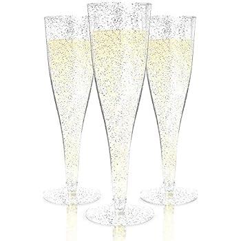 "60 120 240 PLASTIC CHAMPAGNE WINE FLUTES GLASSES! 8.5/"" Tall US Stock WEDDING"