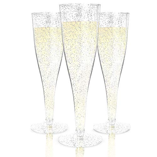 (Plastic Champagne Flutes Disposable - 100 Pack | Silver Glitter Plastic Champagne Glasses for Parties | Glitter Clear Plastic Cups | Plastic Toasting Glasses | Mimosa Glasses | Wedding Party Bulk Pack)