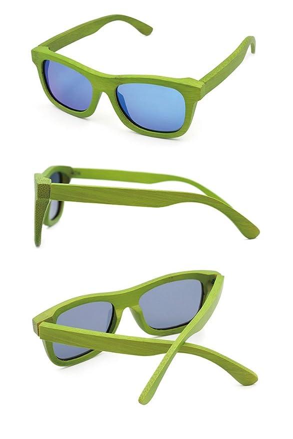 Wayfarer Bambus Vollholz Sonnenbrille Fashion Unisex #55 Brown / Green Iridium WAIxpkg
