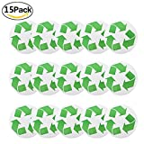 15 Pack Large Recycled Symbol Sticker for Green, Recycling Symbol Decals for Green White Blue Recycling Bins and Container for Recycled Plastic Paper Cardboard Bottle Truck Newspaper Recyclables