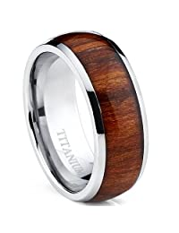 Metal Masters Co.® Titanium Ring Wedding Band, Engagement Ring with Real Wood Inlay, 8mm Comfort Fit Sizes 6 to 13