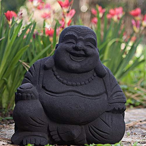 "MISC 9"" Happy Laughing Buddha Sitting Statue Indoor Outdoor, Black Volcanic Ash God Figurine, Indonesia Buddhist Sculpture Home Garden Oriental Gnome Decor Prosperity Serene Peace Zen, Sand"
