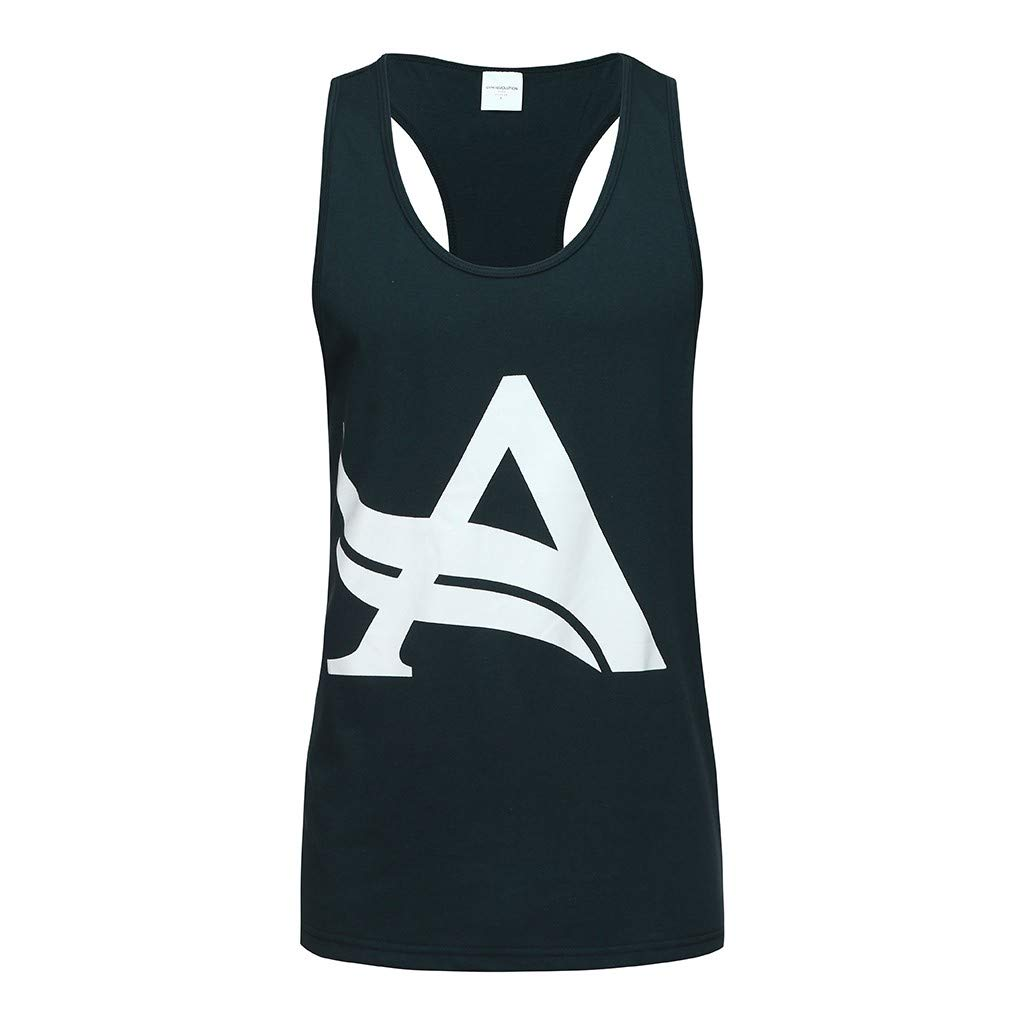 Allywit-Mens Tank Top Sleeveless Tees All Over Print Casual Sport Gym T-Shirts Hawaii Beach Vacation Navy