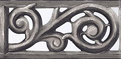 Grey Iron Gate Scroll Wallpaper Border