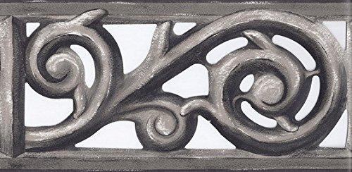 Hang Prepasted Wall Border - Grey Iron Gate Scroll Wallpaper Border