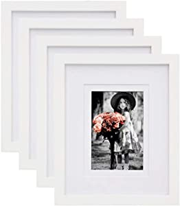 KINLINK 8x10 Picture Frames White, Wood Frames with HD Plexiglass for Pictures 4x6/5x7 with Mat or 8x10 Without Mat, Tabletop and Wall Mounting Display, Set of 4