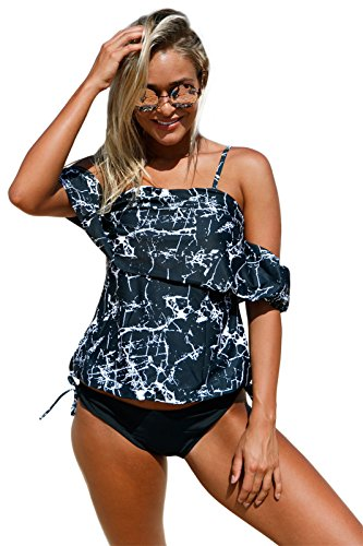 2 PC Cold Open Shoulder Off The Shouder Ruffled Ruffle Hem Tankini Tank Top and Bikini Bottom Swimsuit Set Black XL