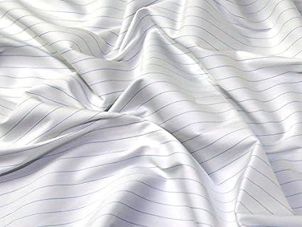 Amazon com: Italian Woven Pinstripe Stretch Cotton Shirting